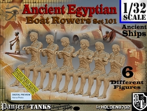 1/32 Ancient Egyptian Boat Rowers Set101 in White Natural Versatile Plastic
