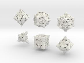 Fortress Dice Set  in White Natural Versatile Plastic