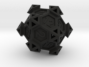 Ancient Construct D20 in Black Natural Versatile Plastic