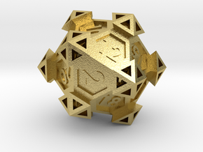 Ancient Construct D20 in Natural Brass