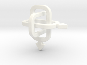 male/male Borromean rings in White Processed Versatile Plastic