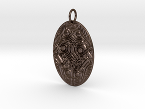 Oval Animal Ornament Pendant in Polished Bronze Steel