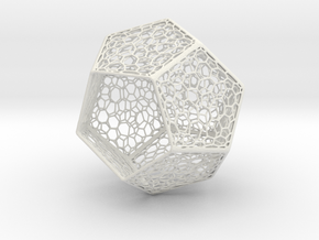 Voronoi Dodecahedron Light Shade in White Natural Versatile Plastic