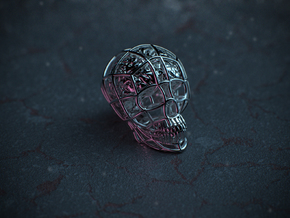 Skull-i ( Brain ) in Polished Silver