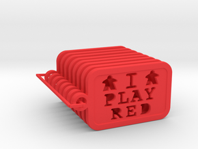I PLAY RED - Meeple Keychain (8) in Red Processed Versatile Plastic