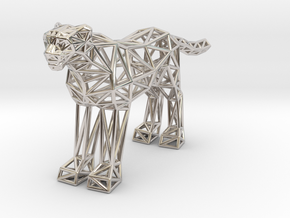 Cheetah (adult) in Rhodium Plated Brass