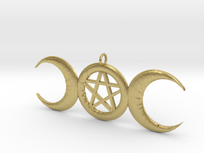 WitchMoon Pendant in Natural Brass