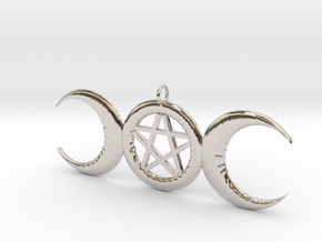 WitchMoon Pendant in Rhodium Plated Brass