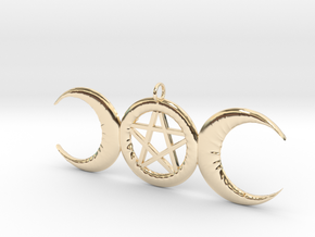 WitchMoon Pendant in 14k Gold Plated Brass