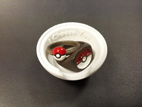 Pokeball Ring Box in White Natural Versatile Plastic