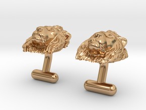 Lion Head Cufflinks in Polished Bronze