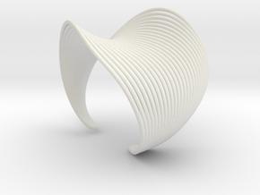 VEIN Cuff Bracelet in White Natural Versatile Plastic: Large
