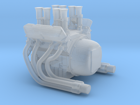1/64 V8 Engine with Velocity Stacks  in Smoothest Fine Detail Plastic