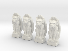 Gargoyles Set of 4.  25mm tall in White Natural Versatile Plastic