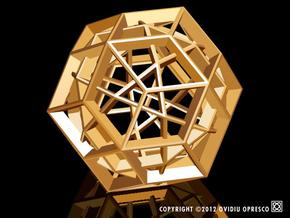 Polyhedral Sculpture #23A in Polished Gold Steel
