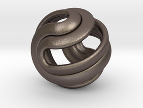 Hexasphericon Crease in Polished Bronzed-Silver Steel