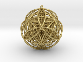 """Stellated Flower Life Vector Equilibrium 2.5"""" Pend in Natural Brass"""