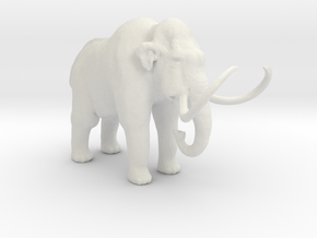 HO Scale Woolly Mammoth in White Natural Versatile Plastic