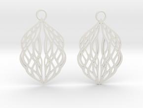 Stream earrings in White Premium Versatile Plastic: Small