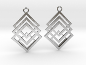 Geometry earrings in Natural Silver: Small