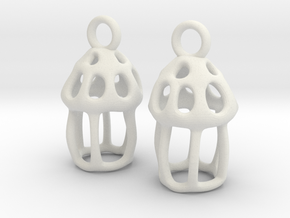 Tintinnid Dictyocysta Lepida Earrings in White Premium Versatile Plastic