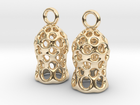 Tintinnid Dictyocysta Mitra Earrings in 14k Gold Plated Brass