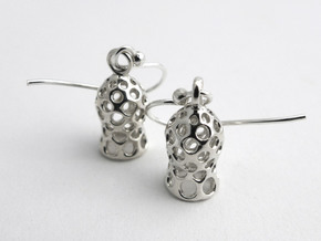 Tintinnid Dictyocysta Mitra Earrings in Polished Silver