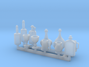 Tankards, Wine and Liquor bottle for 1/12 scale se in Smooth Fine Detail Plastic
