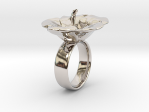 Hawaiian Hibiscus Ring in Rhodium Plated Brass: 5 / 49