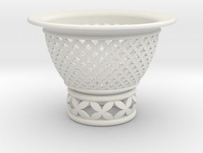 Neo Pot Woven Circles 3.5 in. in White Natural Versatile Plastic