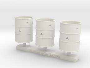 Corroded-Open Top Barrels  in White Natural Versatile Plastic
