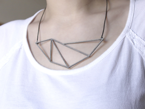 Convex Necklace - Crystalline Series in Polished Nickel Steel