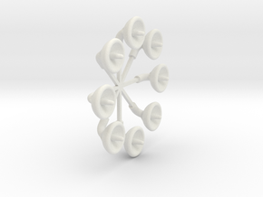 1-114 scale Chariot antenna dish Replacements in White Natural Versatile Plastic