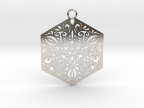 Ornamental pendant in Rhodium Plated Brass