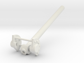 Katyusha Axle Cap and Elevation Tube 1:16 scale in White Natural Versatile Plastic