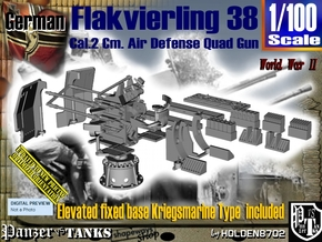 1/100 Kriegsmarine Flakvierling 38 Set001 in Smooth Fine Detail Plastic