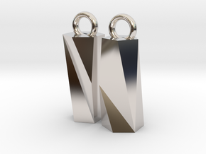 Scutoid Earrings - Mathematical Jewelry in Rhodium Plated Brass