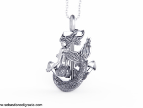 Mermaid Pendant in Antique Silver
