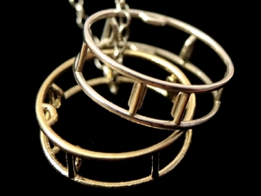 Gymnastic Wheel Pendant - Silver or Brass in Natural Brass