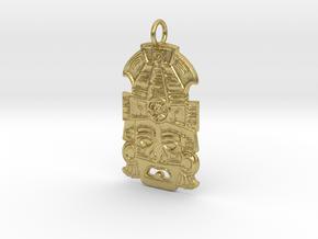 Mayan Mask Pendant (precious metals) in Natural Brass