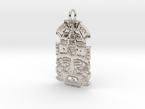 Mayan Mask Pendant (precious metals) in Rhodium Plated Brass