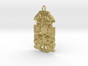 Mayan Mask Pendant (for gemstone) in Natural Brass