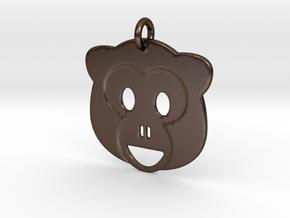 Monkey Emoji Pendant - Metal in Polished Bronze Steel