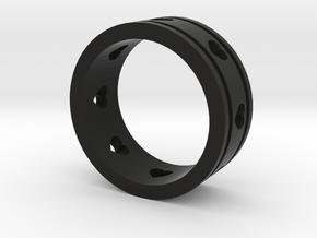 Ring Lines Heart Cutout in Black Premium Versatile Plastic