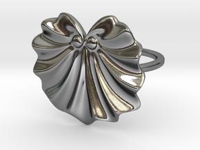 Seashell Fan Ring in Polished Silver: 5 / 49
