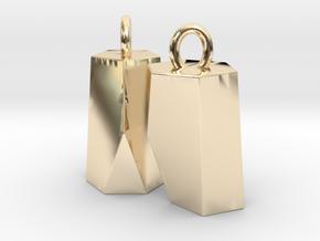 Scutoid Earrings (solid version) in 14K Yellow Gold