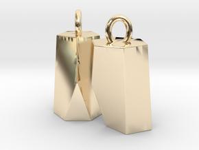 Scutoid Earrings (hollow version) in 14K Yellow Gold