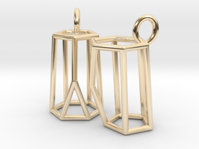 Scutoid Earrings (wireframe version) in 14K Yellow Gold