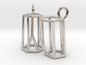 Scutoid Earrings (wireframe version) in Rhodium Plated Brass