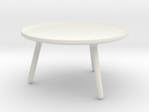 Miniature Norman Copenhagen Table in White Natural Versatile Plastic: 1:12